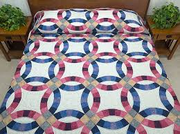 Double Wedding Ring Quilt -- marvelous skillfully made Amish ... & Blue and Rose Double Wedding Ring Quilt Photo 1 ... Adamdwight.com