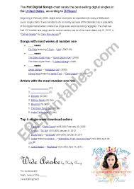 Billboard Hit Chart 2012 Billboard Digital Chart 07 2012 Esl Worksheet By Edhu1981