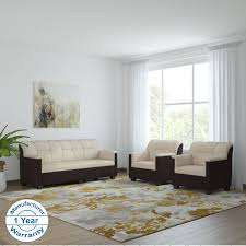 bharat lifestyle star fabric 5 seater sofa set 3 1 1 cream brown in india bhara