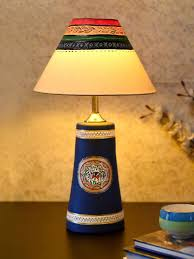 Buy Unravel India Blue Solid Hand Painted Table Lamp With Shade