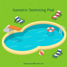 Stylish swimming pool with summer elements Vector Free Download