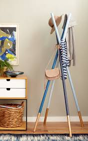 Unique Coat Racks DIY wooden dowel Coatrack in Redbook Emily Henderson 56
