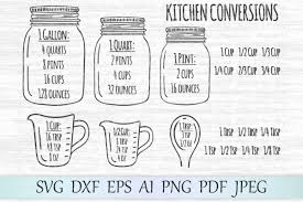 Kitchen Conversions Svg Measurement Chart Svg Kitchen Svg