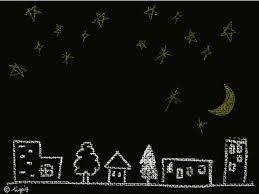 絵本の挿絵のような星空の夜の町のイラストのフリー素材640480pix