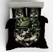 2018 new fashion 3d unique cool skull bedding set black green hat duvet cover pollow case twin full queen king size king size comforter set teenage bedding