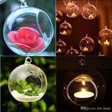 80mm romantic hanging tealight holder glass globes terrarium wedding candle holder candlestick vase home hotel bar decoration glass flower candle holder