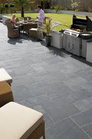 Ethically sourced natural slate paving from Marshalls available in 2  classic colours. An excellent and economic alternative to British slate.