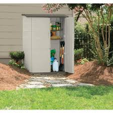 Outdoor Storage Cabinets With Doors Rubbermaid 2 Ft X 4 Ft Large Vertical Storage Shed Fg374601olvss