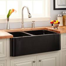 Kitchen Sinks Granite Composite 33 Polished Granite 60 40 Offset Double Bowl Farmhouse Sink
