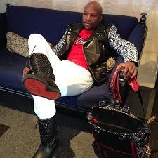 floyd mayweather wears saint lau signature sumi ink club biker jacket and louboutin spikes naza boots upscalehype