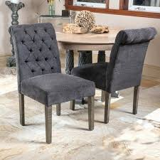 grey dining chairs roll top dark grey fabric dining chair set of 2 by knight grey