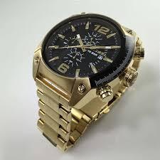 men s gold diesel overflow chronograph steel watch dz4342