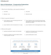 federalism worksheets delibertad quiz worksheet cooperative federalism study com