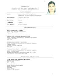 Sample Resume For Filipino Nurses Resume Sample Sample Resume For