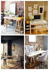 chic office design. 38 Chic Home Office Designs With Brick Walls Design D