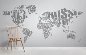 typography world map room wall murals