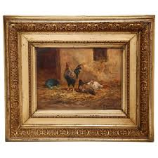 19th century french oil on board en painting in gilt frame signed morlet for