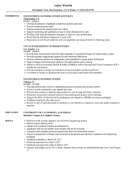 Summer Internship Resume Examples Engineering Summer Intern Resume Samples Velvet Jobs