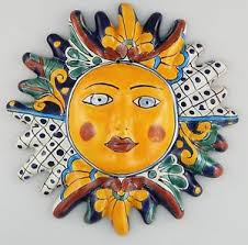 image is loading mexican talavera ceramic sun face wall decor hanging  on talavera ceramic wall art with mexican talavera ceramic sun face wall decor hanging pottery folk