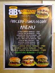 Backyard Burgers Cebu Prices