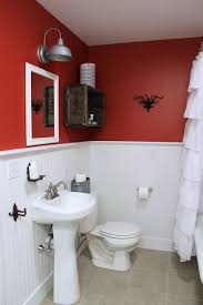 excellent two tone white and red bathroom themes added white single pedestal sink also white ruffled shower curtain also red painting wall color designs