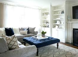 blue velvet ottoman coffee table navy light large leather charming with storage kitchen agreeable