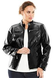 leather jackets plus size amazon com jessica london womens plus size zip leather jacket