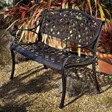 rose metal garden bench seat set in