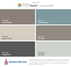 I found these colors with ColorSnap Visualizer for iPhone by  Sherwin-Williams: Poised