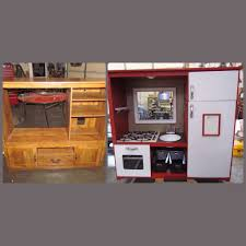 Play Kitchen From Old Furniture Entertainment Center Turned Play Kitchen Childrens Playroom Idea