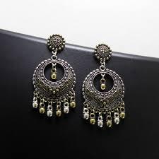 Chandbali Design Ethnic Touch German Silver Earrings Traditional Design Chandbali Hangings