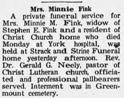 Obituary for Minnie Fink - Newspapers.com