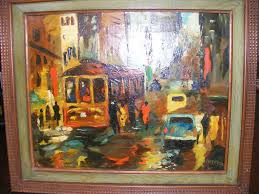 pottery painting houston new orleans street scene 1950 s oil painting by e roy