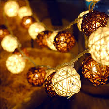 Ping Pong Fairy Lights Letsun Battery Operated Led 4cm Rattan Ball Fairy Lights With Metal Drops Fairy Light And 7 5 Feet Transparent Wire White And Brown