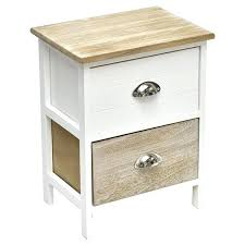 small side table nightstand end coffee with metal handles 2 drawers white washed natural night stand