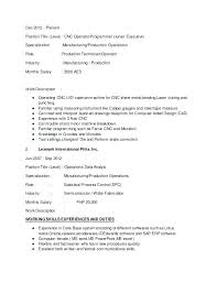Cnc Machinist Resume Machinist Job Description Machine Operator