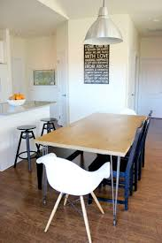 Wrap Around Bench Kitchen Table Plywood Hair Pin Leg Dining Table
