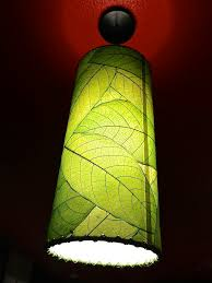 A house plant lights up...decoupaged leaves on a simple lampshade.