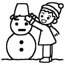 雪だるまと男の子白黒雪だるまの無料イラスト冬ミニカット