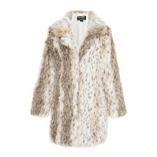 quiz leopard print faux fur jacket beige grey