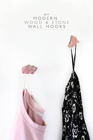 diy modern wood and stone wall hooks squirrelly minds