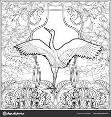 Poster Met Decoratieve Bloemen En Karper Vissen In Art Nouveaustijl