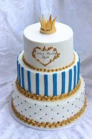 Extraordinary 3 Levels Baby Shower Cake For Boy With Gold Colored