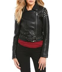 jackets womens joe s jeans joe s jeans taylor pearl embellished faux leather moto jacket black gift to live