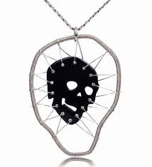 masterpiece black onyx carved crystal skull pendant with silver 925 453