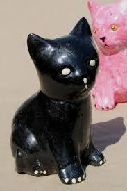 vintage cement cats cat figures for