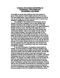 compare the treatment of outsiders in frankenstein mary shelley page 1 zoom in