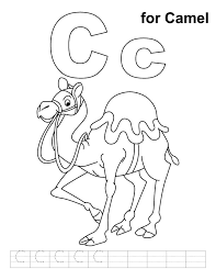 Small Picture C for camel coloring page with handwriting practice Download