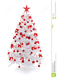 Royalty-Free Stock Photo. Download White Christmas Tree With Red Decoration  ...