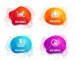 Liquid Badges Set Of Resilience Chart And Group Icons Euler